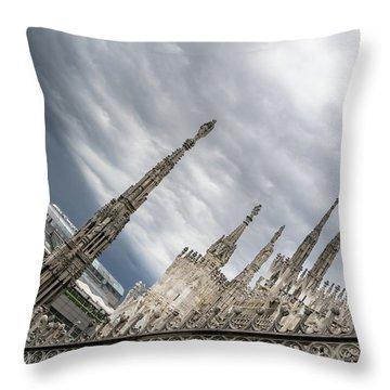 Rough Sky Over Milans Cathedral Duomo Di Milano Throw Pillow
