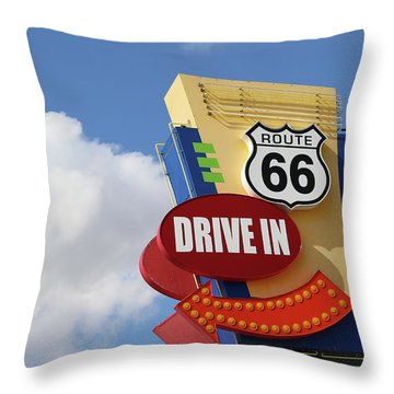 Route 66 Drive-in Sign Throw Pillow