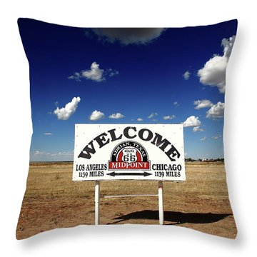 Route 66 - Midpoint Sign 2010 Bw Throw Pillow