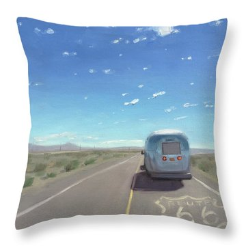 Route 66, Somewhere In California Throw Pillow