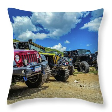 Row Of Jeeps Throw Pillow