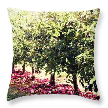 Row Of Red Throw Pillow