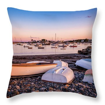 Rowboats At Rye Harbor, Sunset Throw Pillow