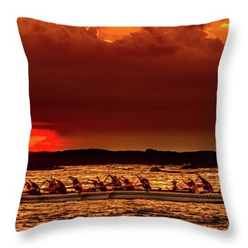 Rowing In The Sunset Throw Pillow