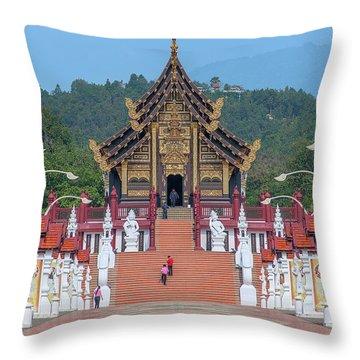 Throw Pillow featuring the photograph Royal Park Rajapruek Avenue To The Grand Pavilion Dthcm2584 by Gerry Gantt