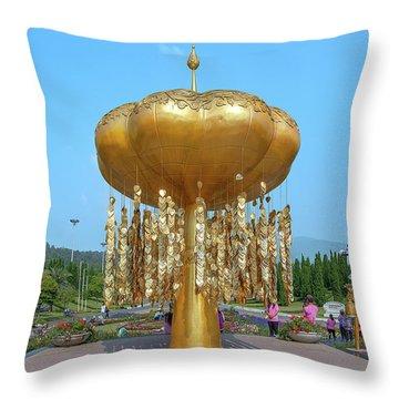 Throw Pillow featuring the photograph Royal Park Rajapruek Golden Sculpture Dthcm2579 by Gerry Gantt