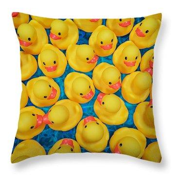 Rubber Duck Meet And Greet Throw Pillow
