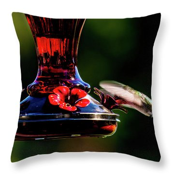 Throw Pillow featuring the photograph Ruby Throated Beak Deep by Onyonet  Photo Studios