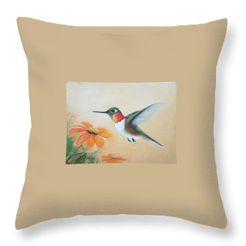 Rufous In Marigolds  Throw Pillow