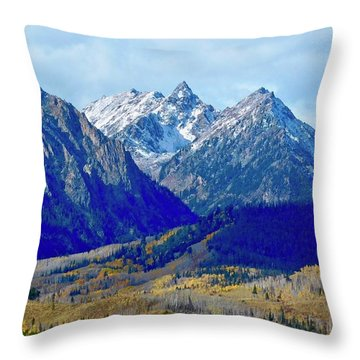 Throw Pillow featuring the photograph Rugged Peaks by Dan Miller