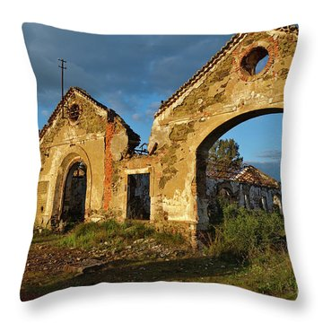 Ruins Of The Abandoned Mine Of Sao Domingos. Portugal Throw Pillow