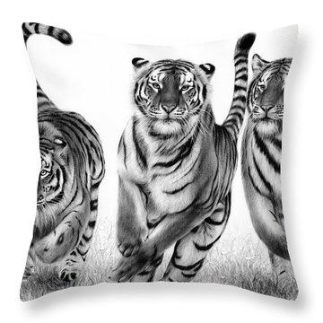 Running Tigers Throw Pillow