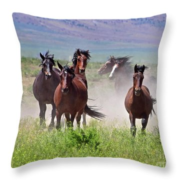 Running Together Throw Pillow