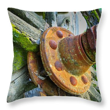 Rusted Hub Throw Pillow