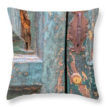 Rustic Green Door Of Cortona Throw Pillow