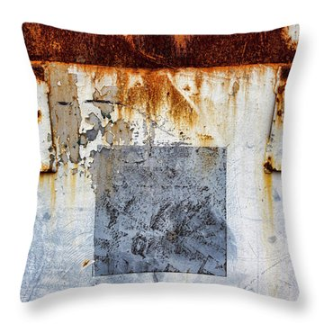 Rusty Patched Up Boat Throw Pillow