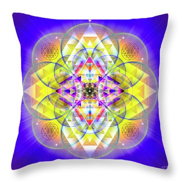 Throw Pillow featuring the digital art Sacred Geometry 731 by Endre Balogh