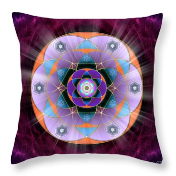 Throw Pillow featuring the digital art Sacred Geometry 733 by Endre Balogh
