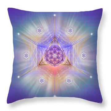 Throw Pillow featuring the digital art Sacred Geometry 734 by Endre Balogh