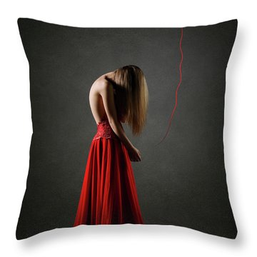 Sad Woman In Red Throw Pillow