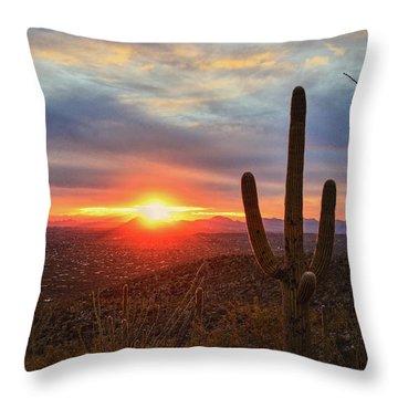 Saguaro Cactus And Tucson At Sunset Throw Pillow