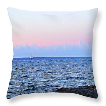 Throw Pillow featuring the digital art Sail Boat by Lucia Sirna
