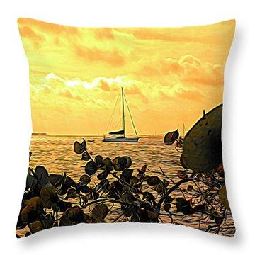 Sail The Manatee River Throw Pillow