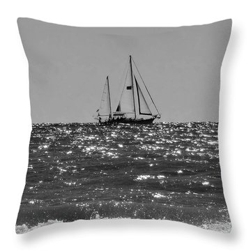 Sailboat In Black And White Throw Pillow