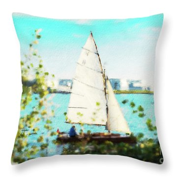 Sailboat On The River Watercolor Throw Pillow