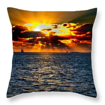 Sailboat Sunburst Throw Pillow