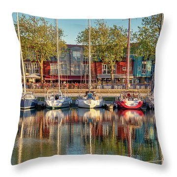 Sailboats In La Rochelle Throw Pillow