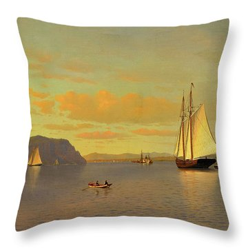 Sailing On The Hudson Near Nyack, 1872 Throw Pillow
