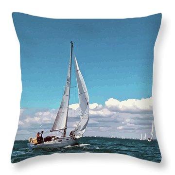 Sailing Regatta On A Brisk Summer's Day Throw Pillow