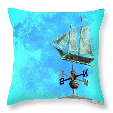 Sailing Ship Weathervane Throw Pillow