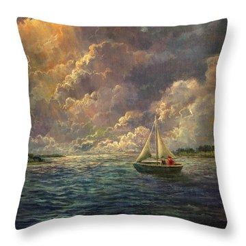 Sailing The Divine Light Throw Pillow