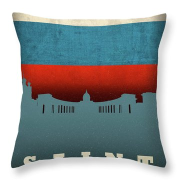 Saint Petersburg City Skyline Flag Throw Pillow
