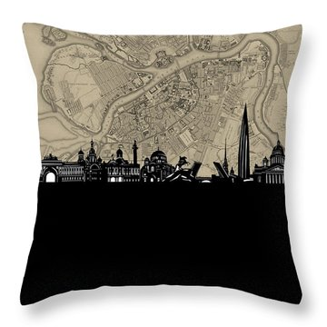 Saint Petersburg Skyline Map Throw Pillow