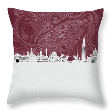 Saint Petersburg Skyline Map Red Throw Pillow