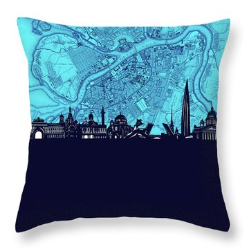 Saint Petersburg Skyline Map Turquoise Throw Pillow