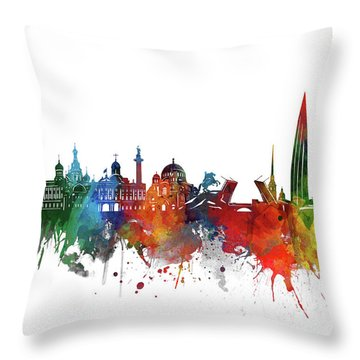 Saint Petersburg Skyline Watercolor 2 Throw Pillow