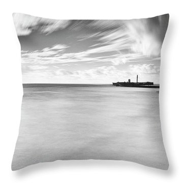 Throw Pillow featuring the photograph Saint Sebastian Castle Long Exposure Cadiz Spain by Pablo Avanzini