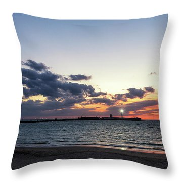 Throw Pillow featuring the photograph Saint Sebastian Lighthouse At Dusk Cadiz Spain by Pablo Avanzini