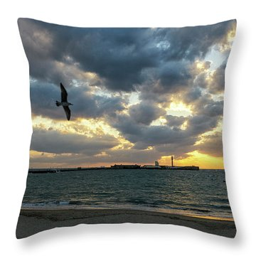 Throw Pillow featuring the photograph Saint Sebastian Lighthouse At Sunset Cadiz Spain by Pablo Avanzini