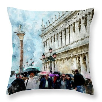 Saint Theodore Sculpture At Saint Mark Square In Venice, Italy - Watercolor Effect Throw Pillow