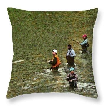Salmon Fishing Nisqually River Throw Pillow