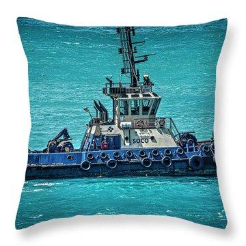 Salvage Tug Boat Throw Pillow
