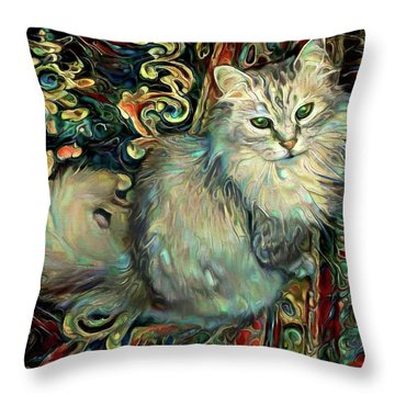 Samson The Silver Maine Coon Cat Throw Pillow