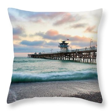 Throw Pillow featuring the photograph A San Clemente Pier Evening by Brian Eberly