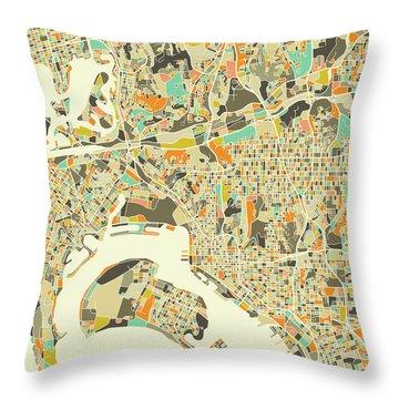 San Diego Map 1 Throw Pillow