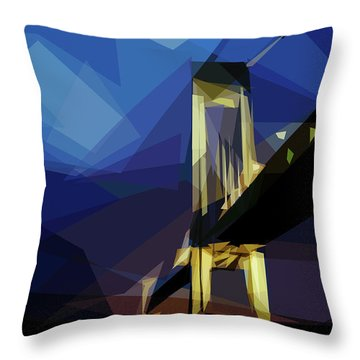 Throw Pillow featuring the digital art San Francisco Bridge by ISAW Company